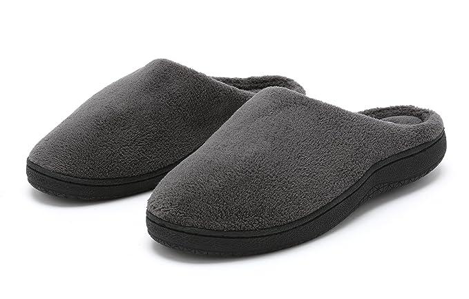 c6d8a8278e5523 Pembrook Men's Slippers – Gray Size Small - Comfortable Memory Foam + Soft  Fleece. Indoor