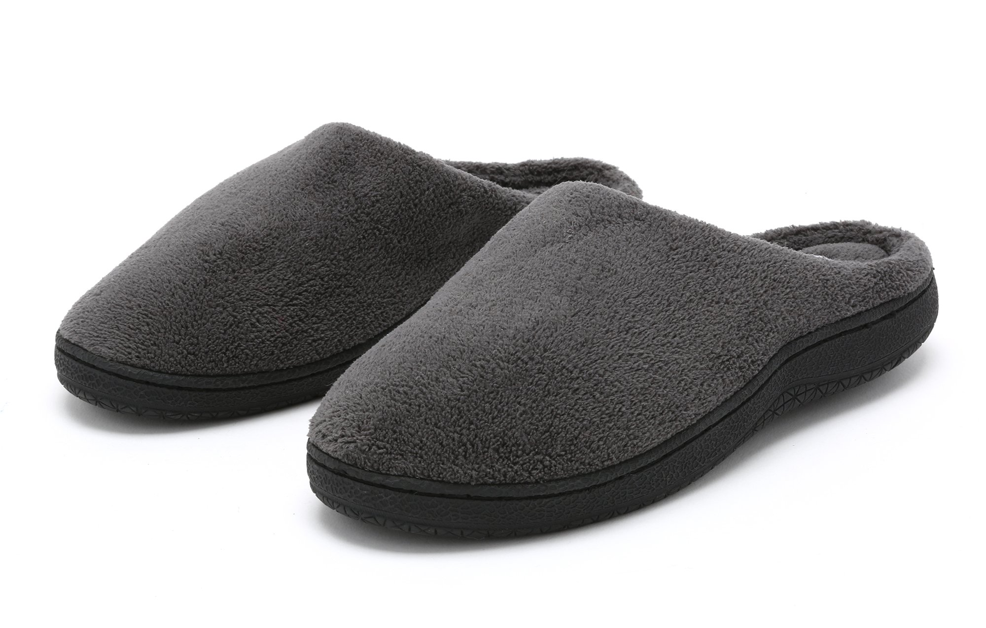 Pembrook Men's Slippers – Gray Size Large - Comfortable Memory Foam + Soft Fleece. Indoor and Outdoor Non-Skid Sole - Great Plush Slip On House Shoes for adults, Men, Boys