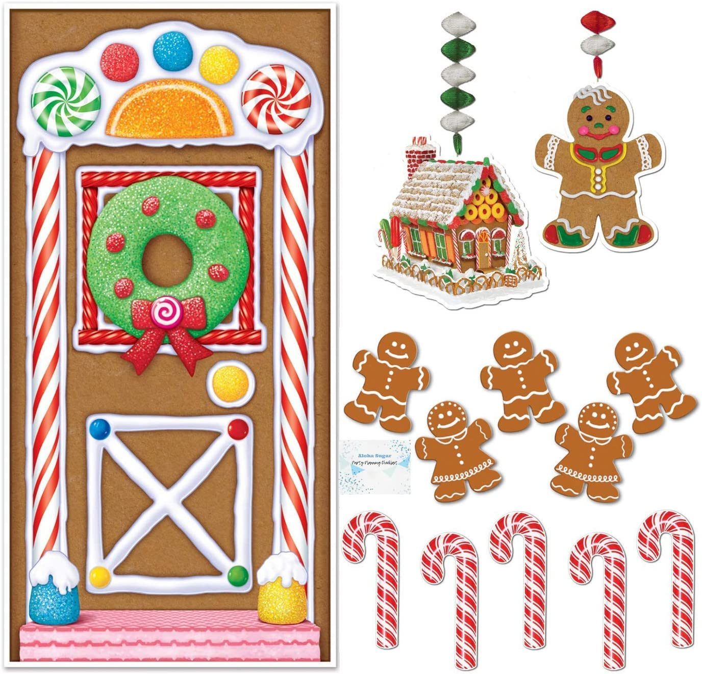 Gingerbread House Decorations - Gingerbread Door Cover - Candy Cane Decorations - Gingerbread Decorations - Perfect Candy Christmas Decorations!