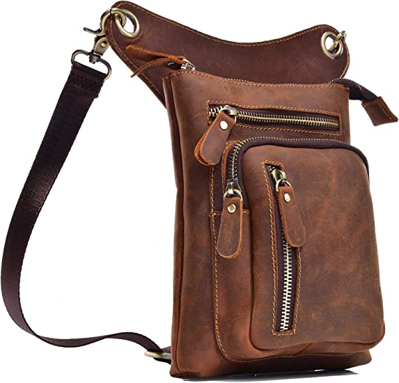 Drop Leg Bag Tatical Thigh Pouch Waist Packs for Motorcycle Steampunk Costume Outdoor Brown