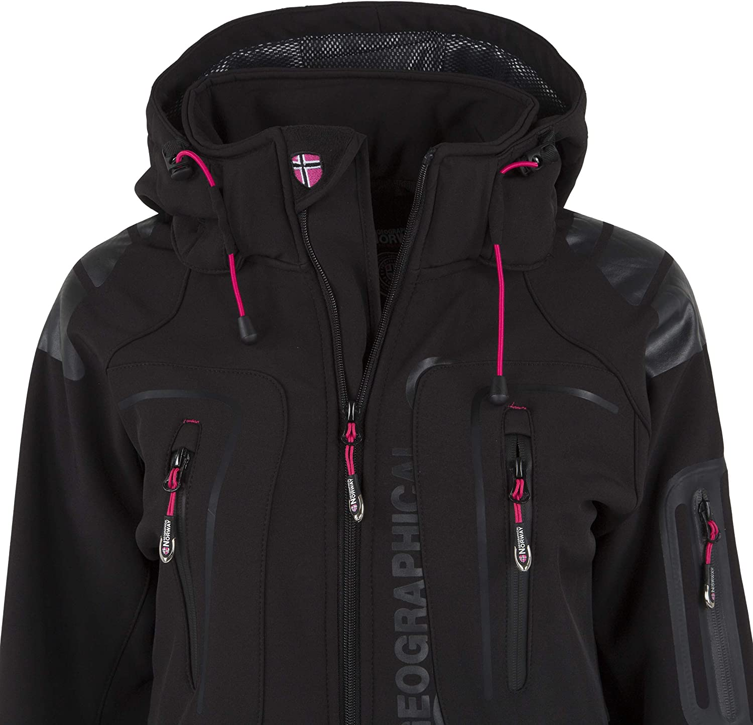 Geographical Norway Damen Softshell Outdoor Jacke Tassion abnehmbare Kapuze