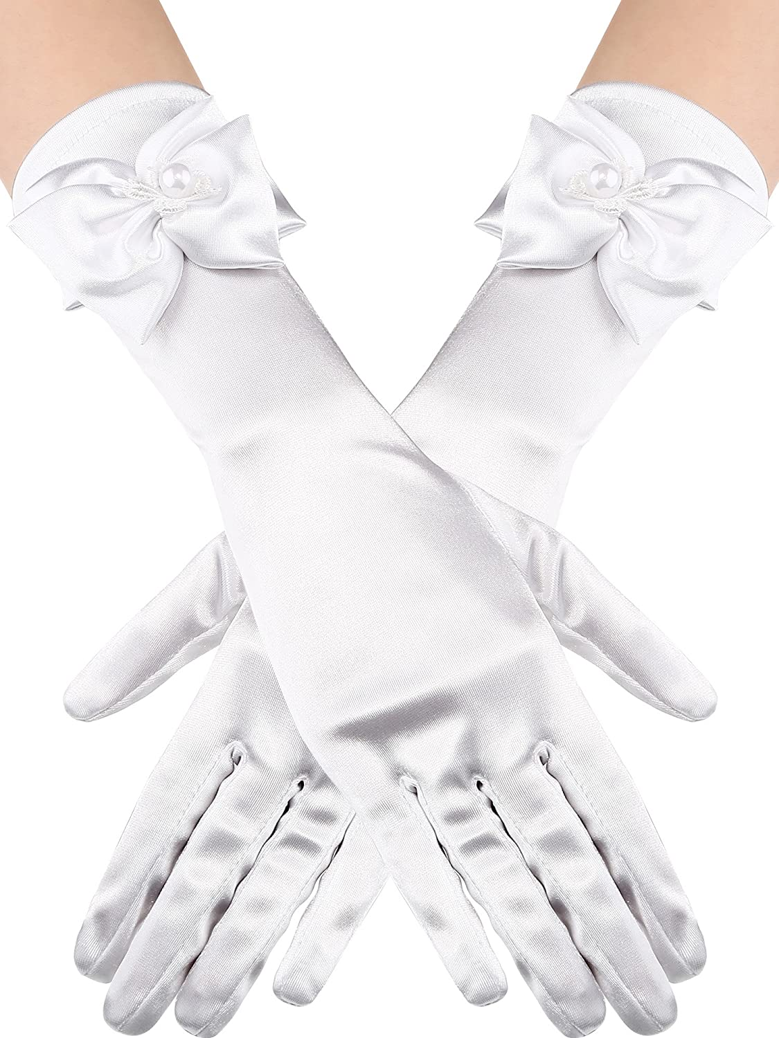 Sumind Girls Satin Gloves Kids Size Formal Gloves Bow Knot Pearl Glove for Wedding Pageant Parties, White (Elbow Length)