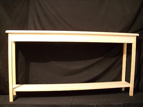 Unfinished 60 Console Sofa Foyer 11 deep Beveled Edge Pine Table w shelf