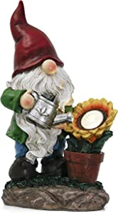 TERESA'S COLLECTIONS 11.4 inch Watering Sunflower Garden Gnome Statue with Solar Lights, Funny Outdoor Gnomes Garden Decorations, Fairy Garden Figurine for Indoor Lawn Patio Yard Porch