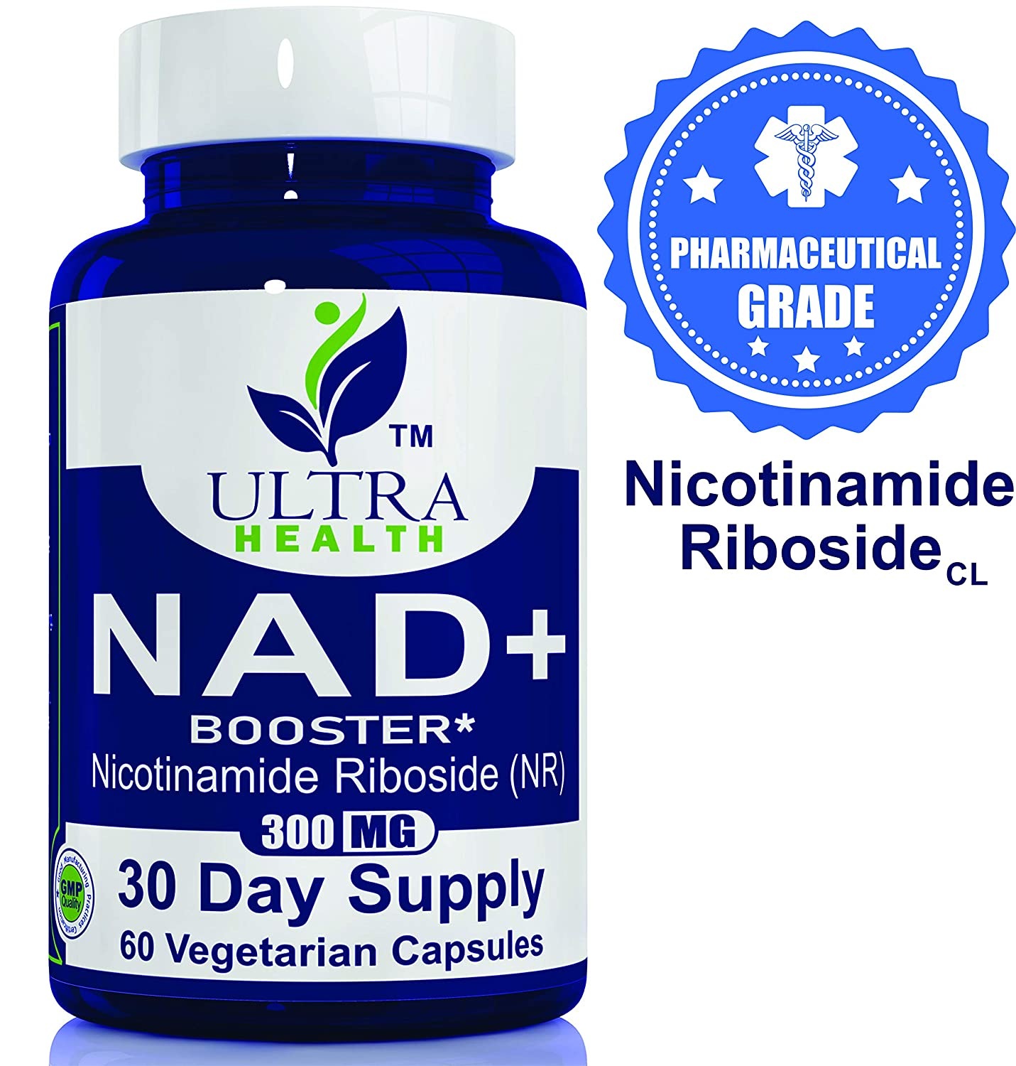 Nicotinamide Riboside - 300mg/Serving, NAD+ Booster, Ultra-High Purity Pharmaceutical Grade, nicotinamide riboside Chloride, Best NAD Supplement, Same Ingredient as Tru Niagen and Elysium Basis NR