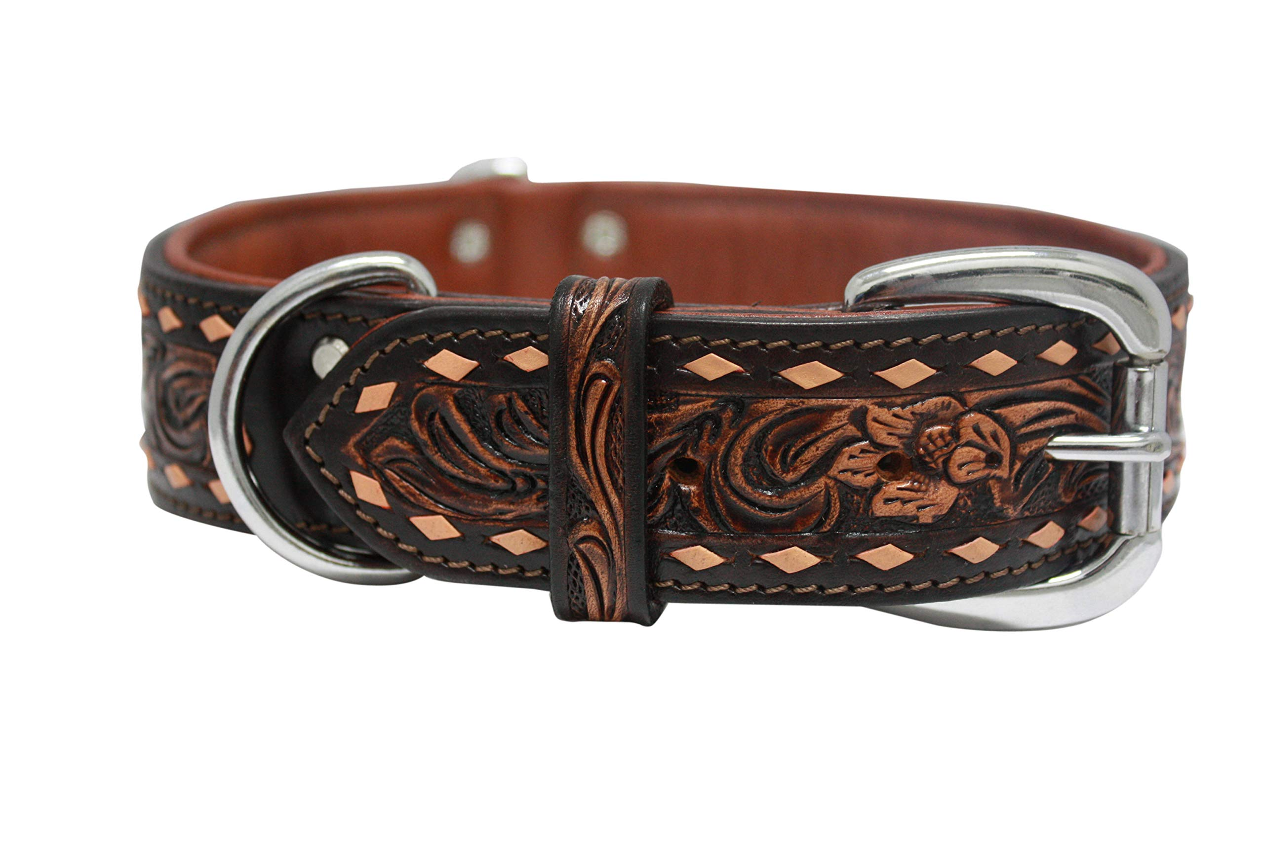 Angel, Tucson, 24'' x 1.5'' Genuine Leather Tooled Dog Collar, Hand Made, Two- Tone Finish, Buck Stitched and Padded. Fits Most Labs, Shepherds or Any Dog with a Neck Size 17''- 21.5'' or 80-100 LBS