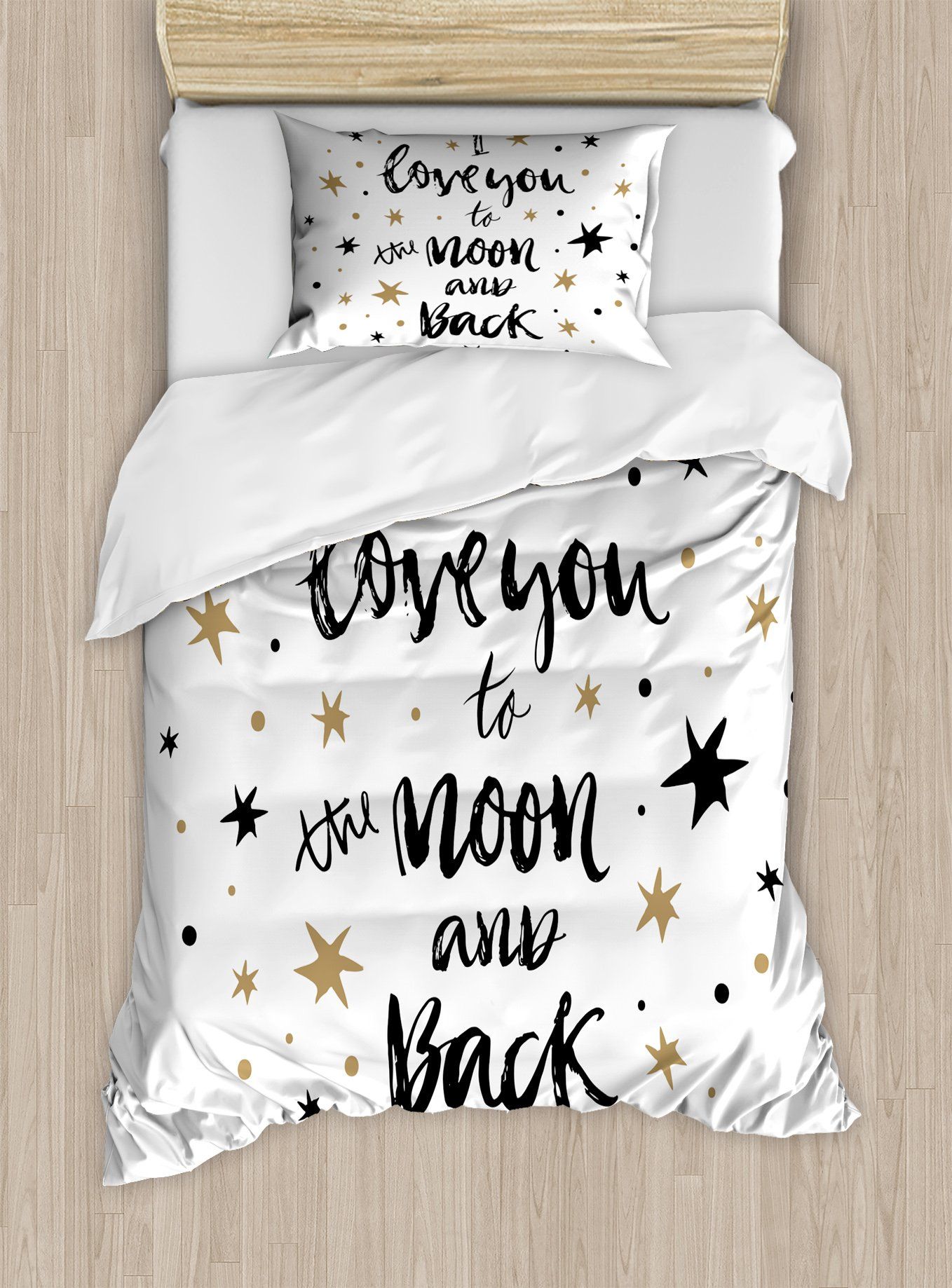 Ambesonne I Love You Duvet Cover Set Twin Size, Hand Drawn I Love You to The Moon and Back Quote Stars Valentine's Celebration, Decorative 2 Piece Bedding Set with 1 Pillow Sham, Cocoa Black,