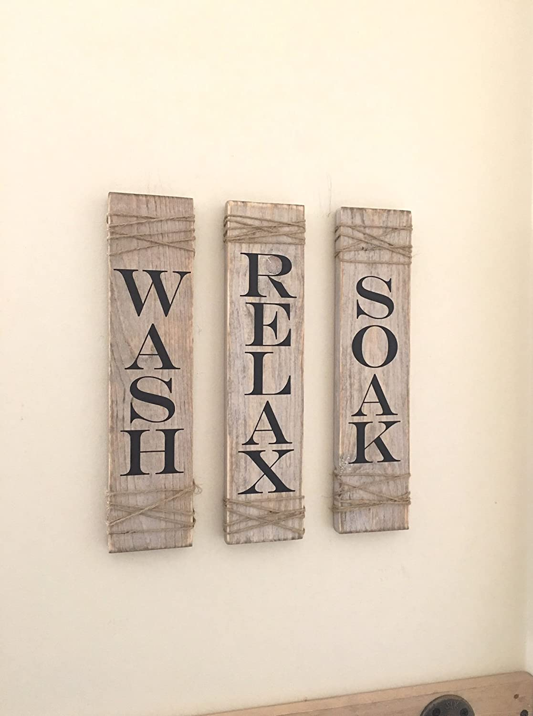 Set of Three Farmhouse Bathroom Decor Rustic Sign Soak Wash Relax Whitewash Wood Sign