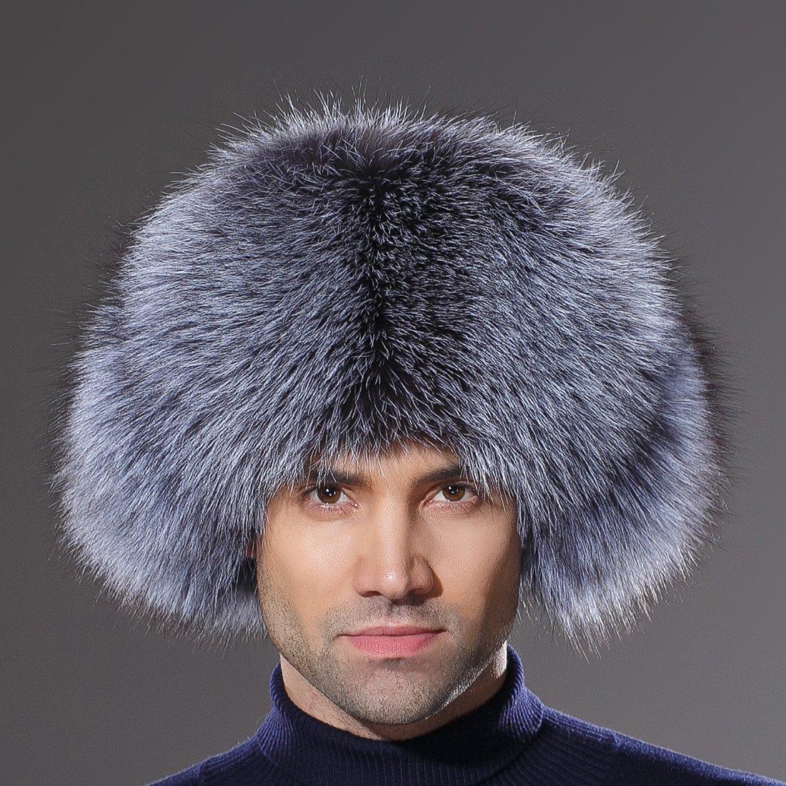 URSFUR Winter Mens Trapper Hat Real Leather Silver Fox Fur Russian Ushanka Cap by URSFUR (Image #2)