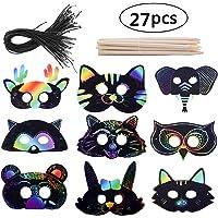 Scratch Art Masks for Kids, MIUMIU DIY Magic Rainbow Scratch Paper Animal Masks Scratchboard Painting Crafts Set to Decorate, Arts & Crafts Activities