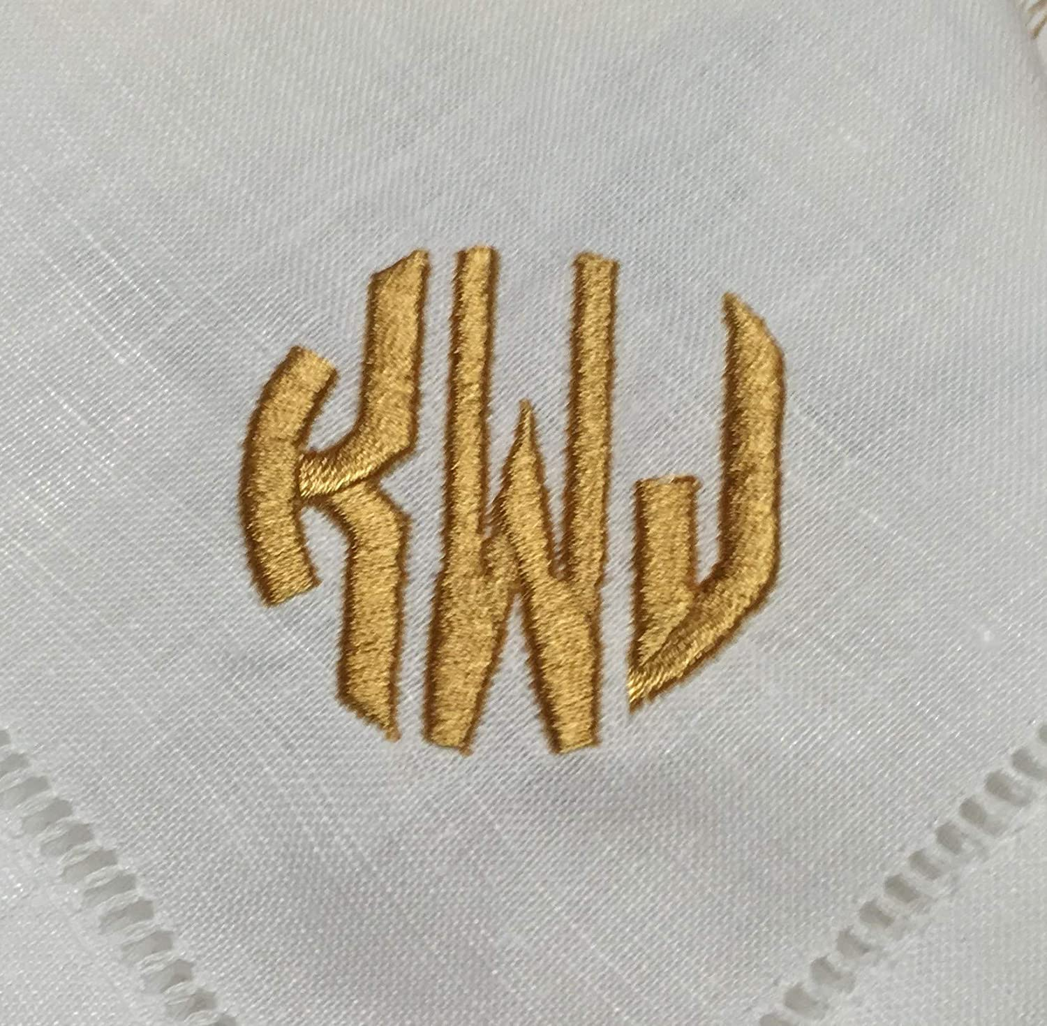 316Gifts Monogrammed 20 inch Linen Cotton Dinner Napkin with Circle Font