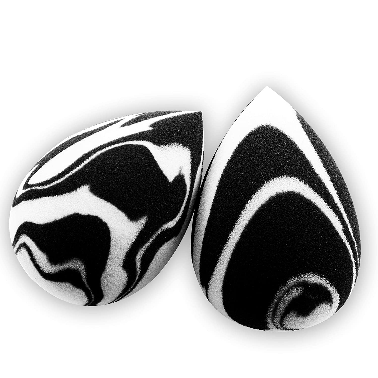 Premium Quality Black and White Marble Beauty Sponges, Makeup Blenders, 2-pack, Non-Latex