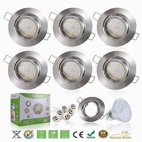 Liqoo 6x Foco Empotrable Led Gu10 Luz de Techo 4W equivalente a incandescente 35W Incluye Bombilla