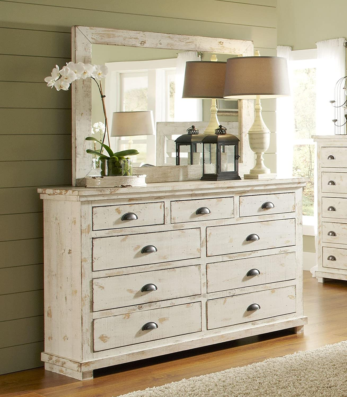 Progressive Furniture Willow Dresser and Mirror, Distressed White
