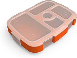 Bentgo Kids Prints Tray with Transparent Cover - Reusable, BPA-Free, 5-Compartment Meal Prep Container with Built-In Portion Control for Healthy At-Home Meals and On-the-Go Lunches (Sports)