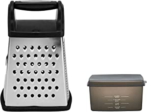 Farberware Professional 4-Sided Stainless Steel Grater with Collection Box and Lid, Black