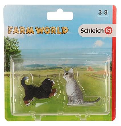 Schleich - Set 2 figuras de Farm Life. Cachorro Perro Bernés y Gato: Amazon.es: Juguetes y juegos
