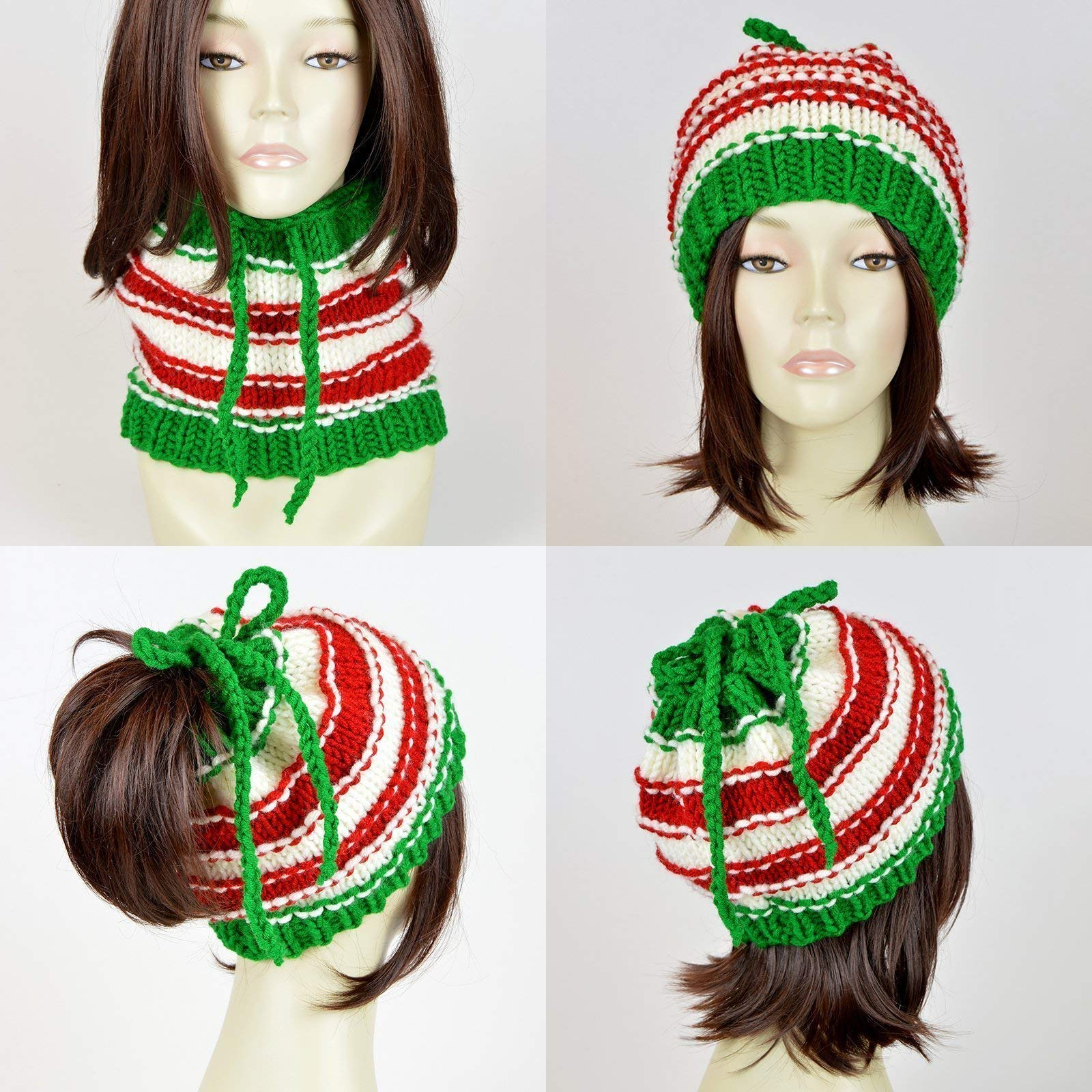 5752290ffe5 Christmas Hat Ponytail Hat With Hole Santa Claus Knit Hat Christmas Scarf Knit  Beanie Hole Hat Ponytail Beanie With Hole Knit Santa Hat Xmas Mütze  Christmas ...