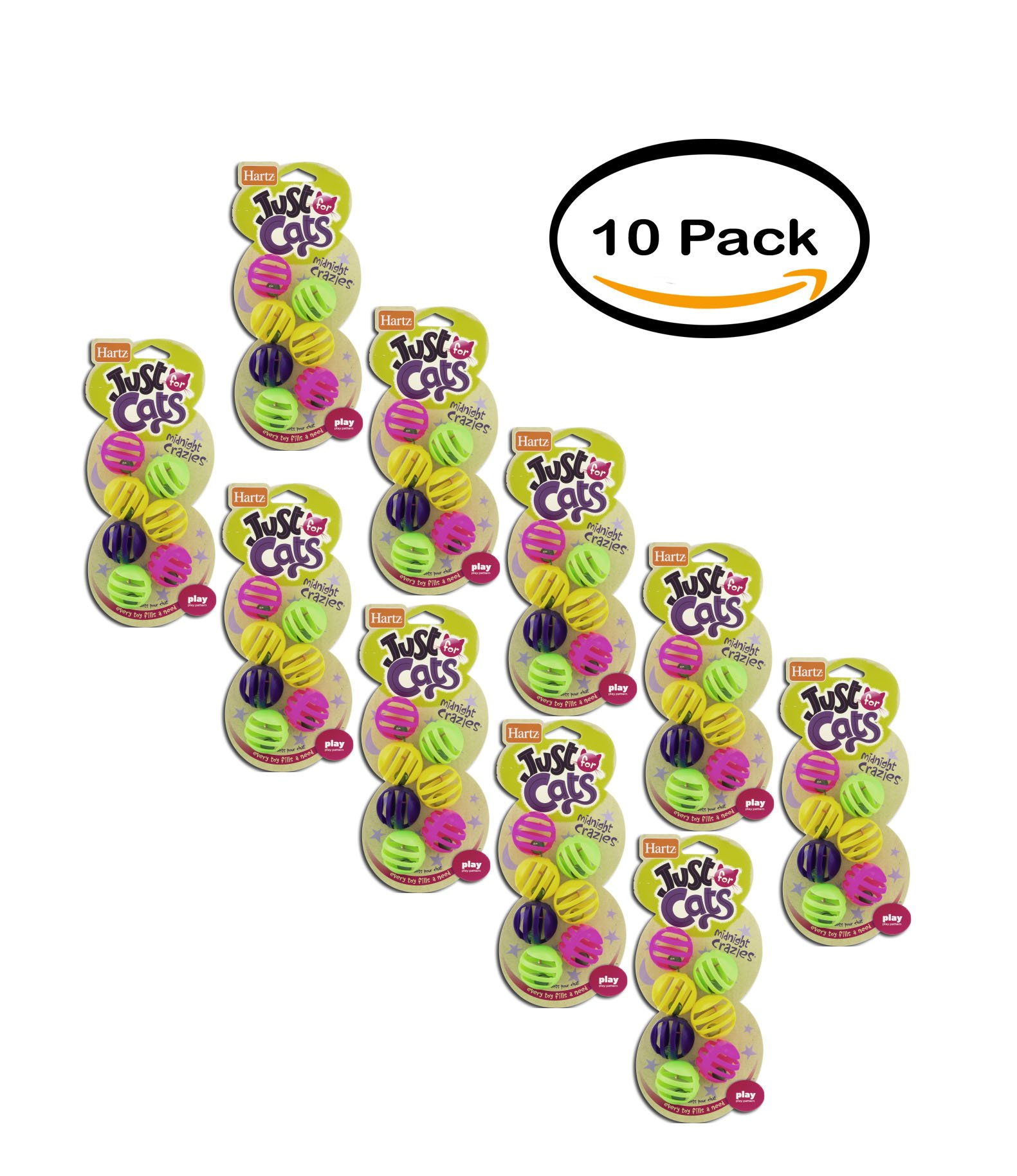 PACK OF 10 - Hartz Just for Cats Midnight Crazies Cat Toys - 7 CT