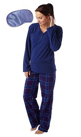29f4a9cbf9 i-Smalls Damen Fleece Pyjamaanzug Niedlicher Hasen Aufdruck und Schlafmaske  (Karriert) 38-
