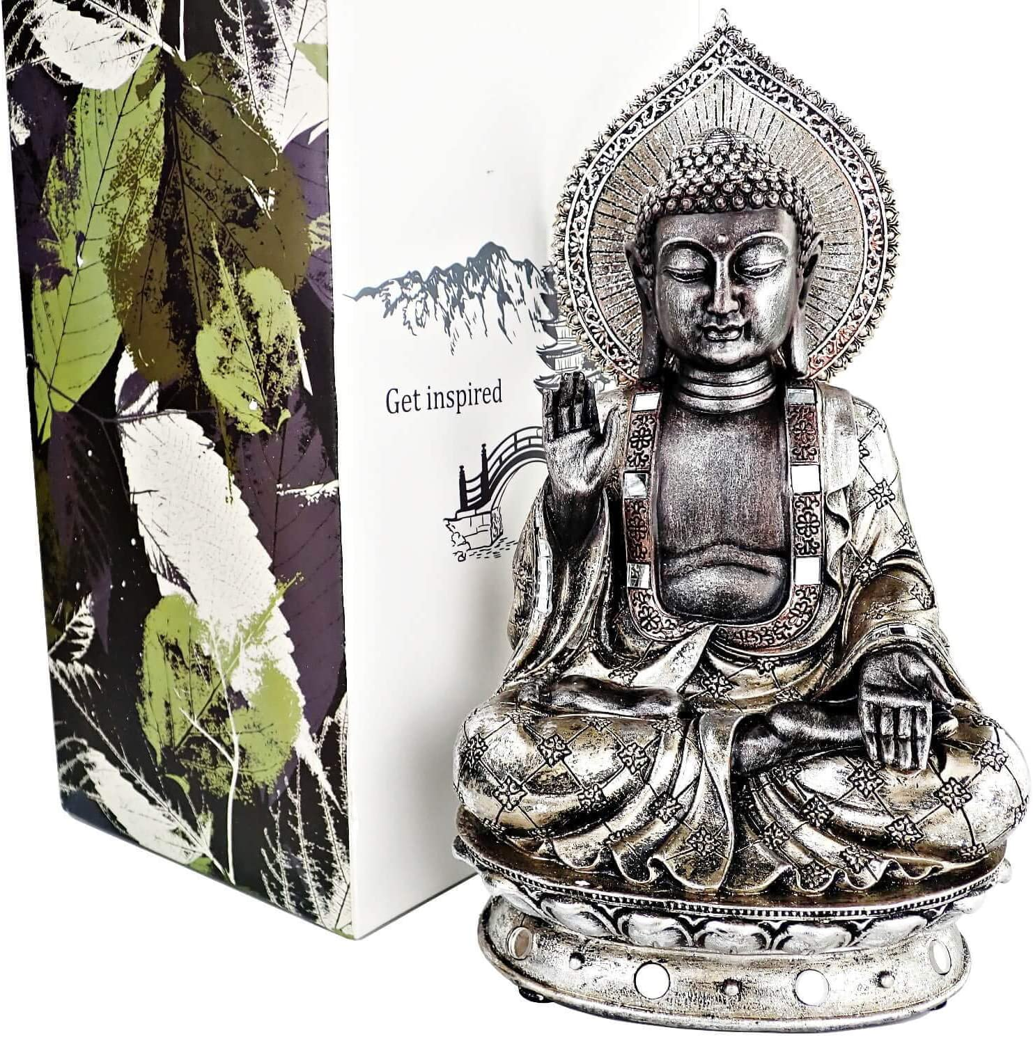 "25DOL Buddha Statues for Home. 8.7"" Buddha Statue (The Enlightened One). Collectibles and Figurines, Meditation Decor, Spiritual Living Room Decor, Yoga Zen Decor, Hindu and East Asian Décor"