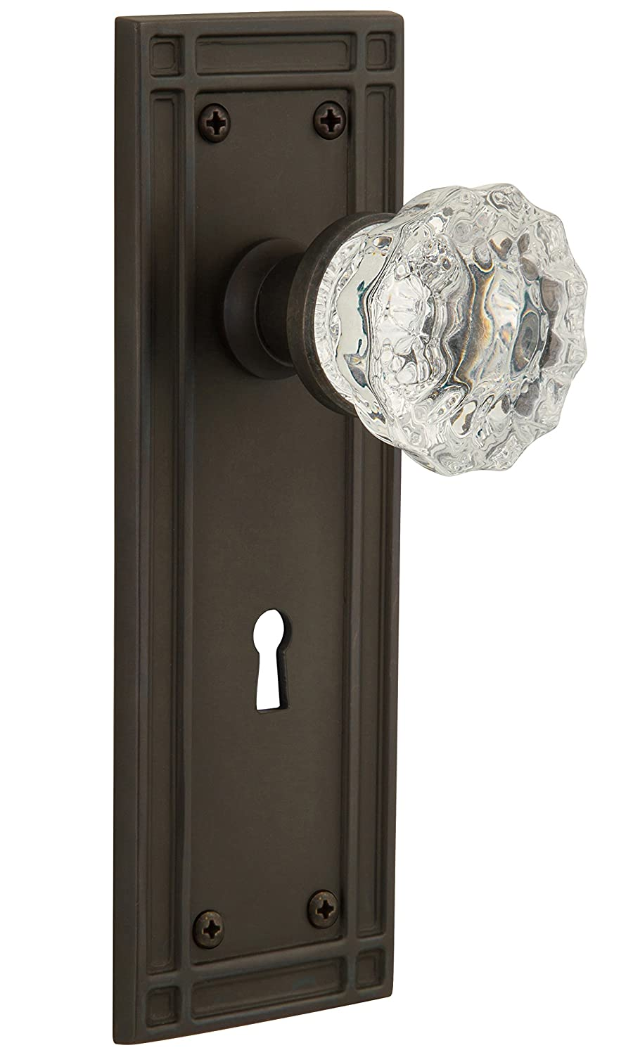 Nostalgic Warehouse Mission Plate with Keyhole Single Dummy Crystal Glass Door Knob in Timeless Bronze