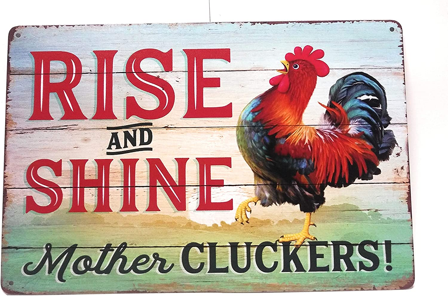 Rise And Shine Mother Cluckers Metal Tin Sign, Chicken Decor, Chicken Sign, Funny Chicken Sign, Home Decor, Bedroom Sign, 8-inch by 12-inch Sign | TSC444 |