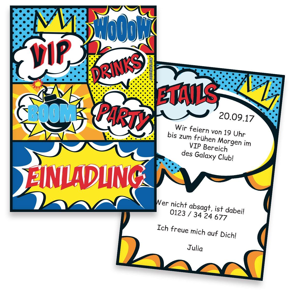 Einladungskarten zum zum zum Geburtstag Comic   40 Stück   Inkl. Druck Ihrer Texte   Kindergeburtstag   Individuelle Einladungen   Einladung   Einladungskarte Jungen & Mädchen B01NCLHOMN   Genialität    Ausgezeichnete Leistung    Feine Verarbeitung  10859b