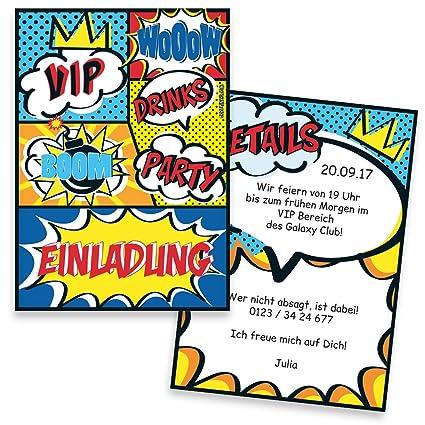 Tarjetas De Invitación Para Cumpleaños Comic Impresión Con