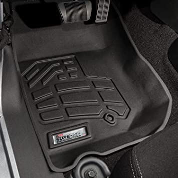 1 Pair Westin Wade 72-110030 Black Sure-Fit Front Right And Left Molded Floor Mat Set