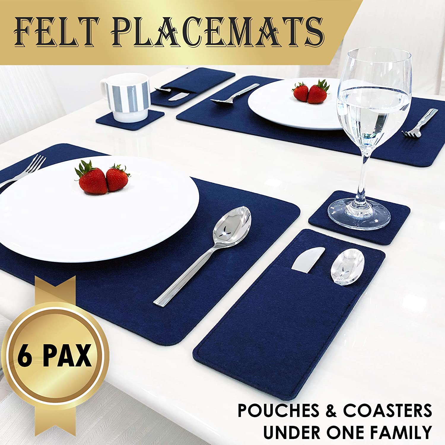Set Of 6 Placemats For Dining Table - 6 Table Placemats, Drink Coasters And Cutlery Pouch Holder - Protective Dining Table Mats And Dining Table Placemats - House Warming Gifts New Home (blue)
