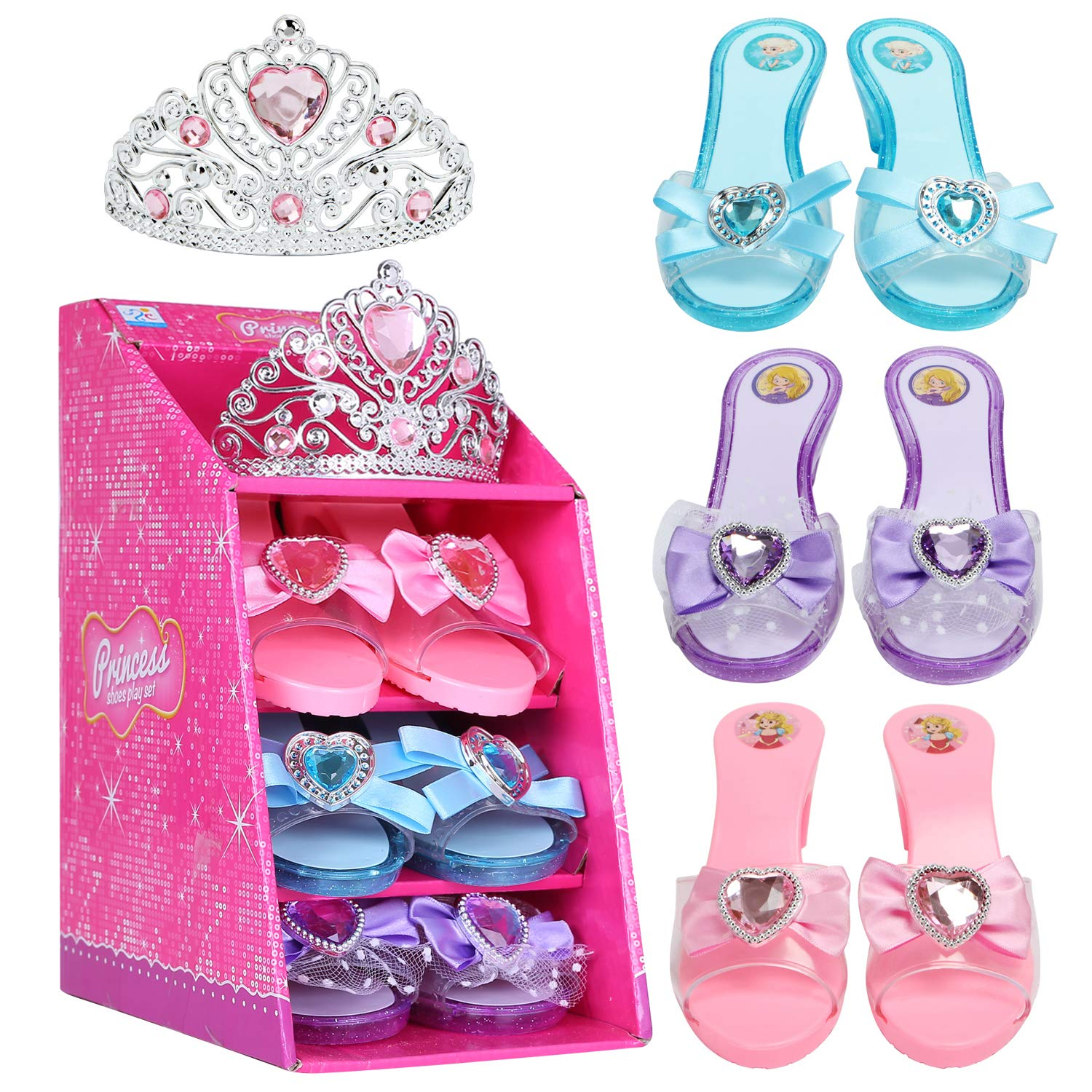 Mastom Girls Play Set! Princess Dress Up & Play Shoe and Tiara (3 Pairs of Shoes + 1 Tiara) Role Play Collection Fashion Princess Shoes Birthday Party Favor Gift Set for Little Girls