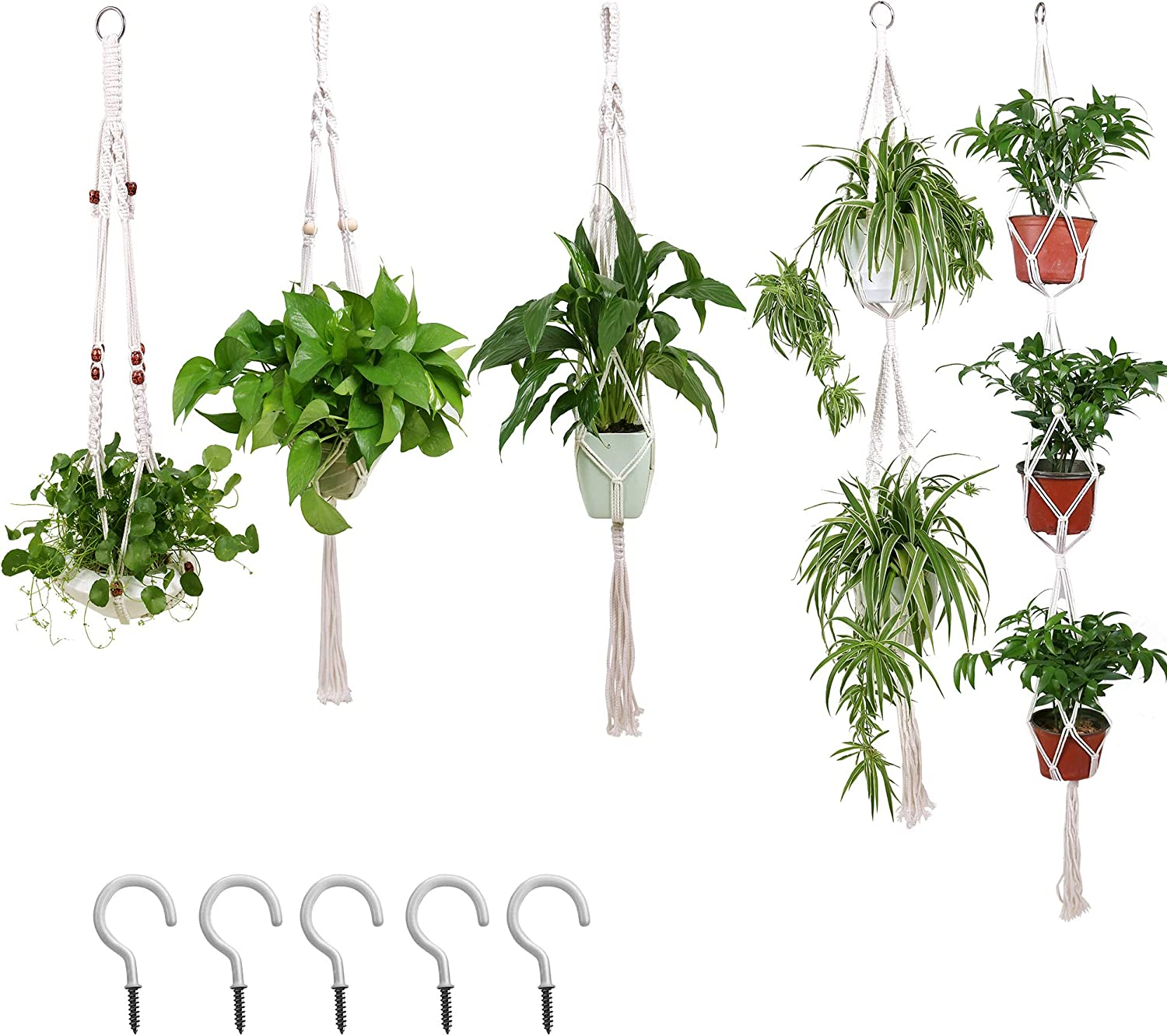 5 Pack Macrame Plant Hangers Indoor Outdoor Hanging Planters, Cotton Woven Plant Pot Basket Stand, Pots Patio Deck Ceiling Boho Home Birthday Décor with 5 Hooks