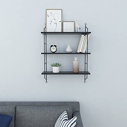 Homdox Industrial Floating Shelves Wall Mounted Metal Frame Urban Chic  Display Wall Shelf, 3 Tier