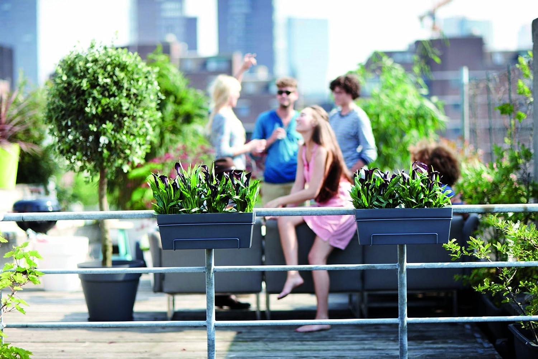 Antracita 49x17.3x38.4 cm elho Loft Urban Flower Bridge Jardinero balc/ón