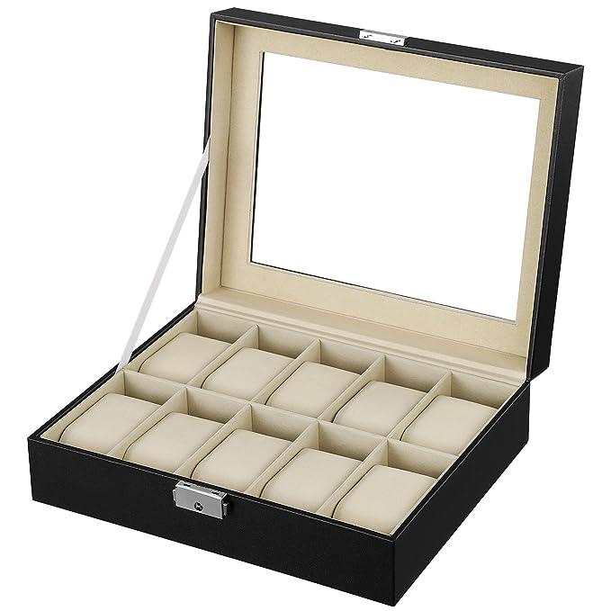 Songmics® Présentoir/coffret/boîte à montre 10 montres Noir partout JWB010