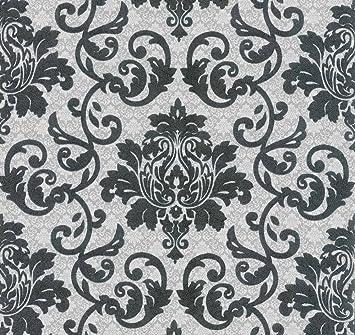 Vlies Tapete Barock Muster Ornament schwarz silber grau metallic ...