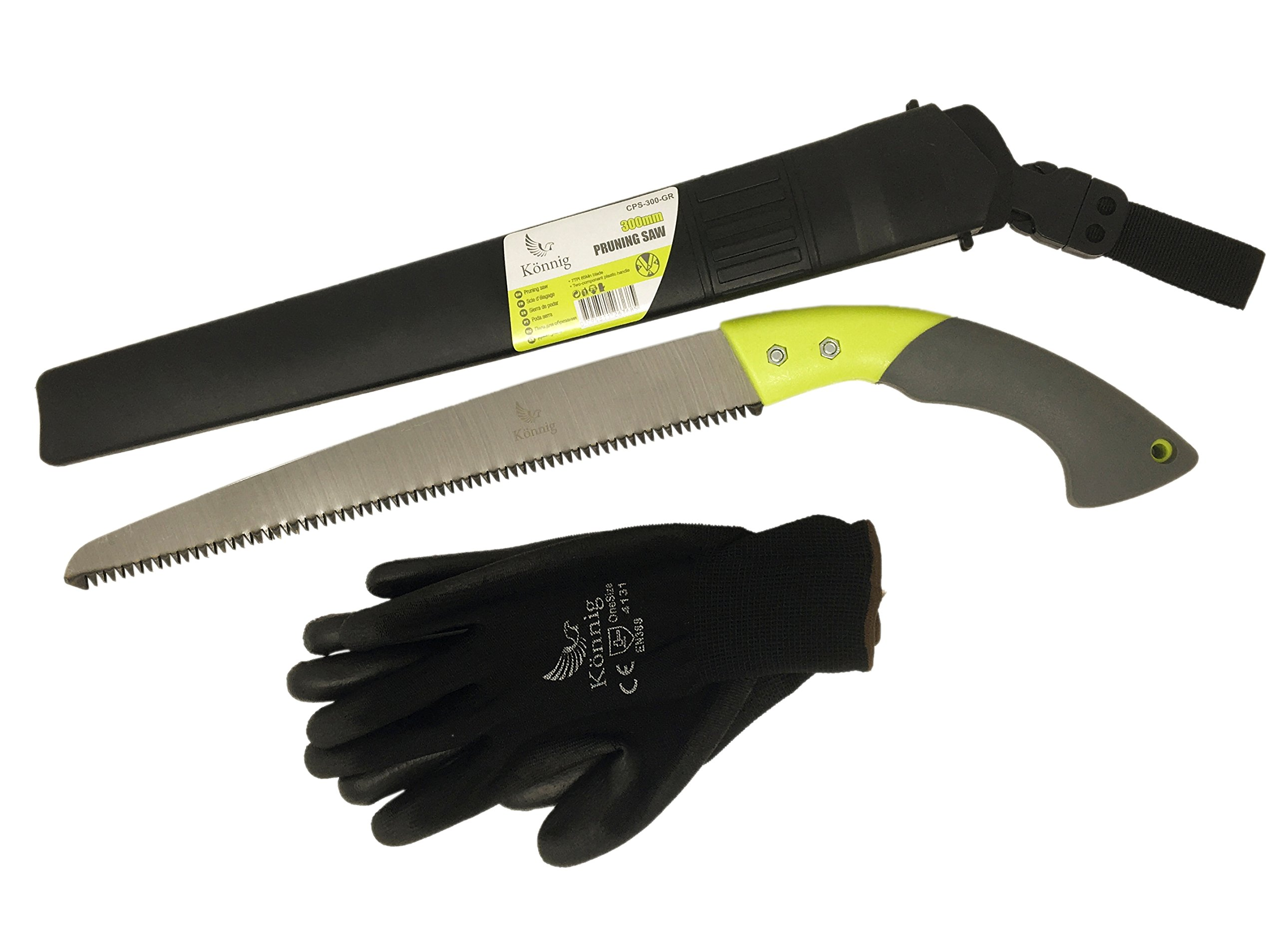 Könnig Heavy Duty Pruning Hand Saw (RAZOR SHARP 12'' Straight Steel Turbocut Pull-Action Blade) Comfort Handle with Blade Enclosure - Japanese Design - FREE Pair of Garden Gloves