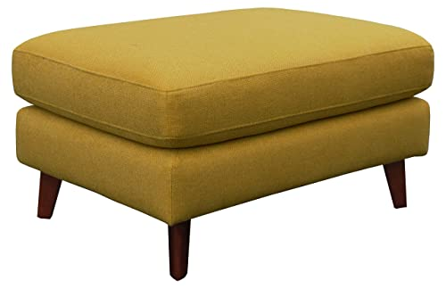 Rivet Sloane Mid-Century Modern Ottoman with Tapered Legs, 31.9 W, Yellow
