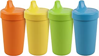 product image for Re-Play Made in The USA 4pk No Spill Cups for Baby, Toddler, and Child Feeding in Orange, Yellow, Lime Green and Sky Blue | Made from Eco Friendly Heavyweight Recycled Milk Jugs | (Spring+)