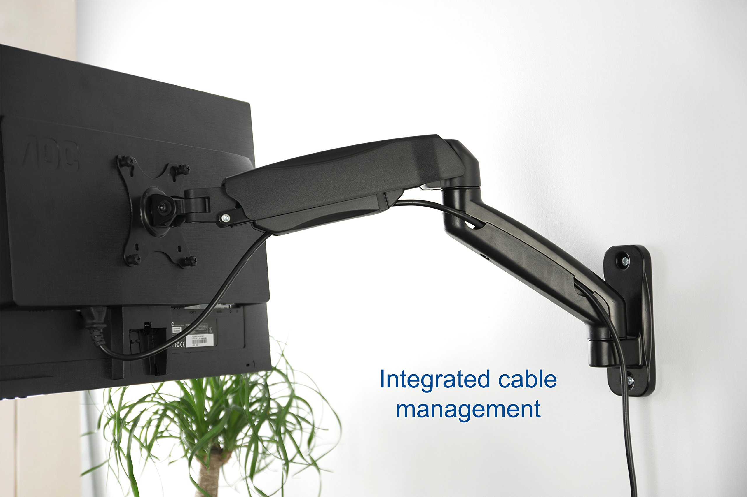 VIVO Black Height Adjustable Gas Spring Extended Arm Single Monitor Wall Mount Full Motion Articulating | fits 17'' to 27'' Screens (MOUNT-V001G) by VIVO (Image #5)