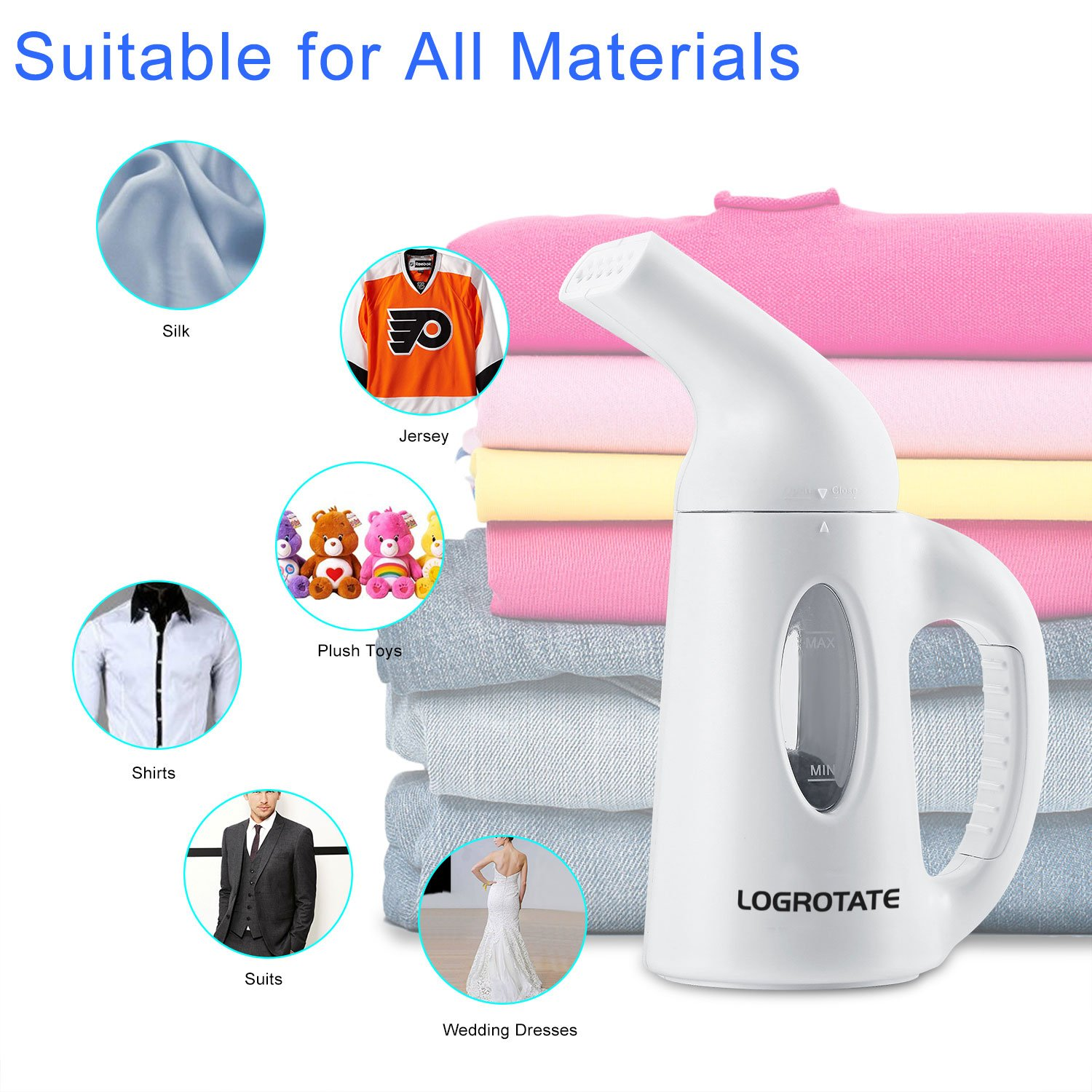 LOGROTATE Fabric Steamer 120ML Travel Garment Steamer Handheld Portable Mini Fast Heat-up Clothes Steamer for Clothes Linen Shirts Bedding Suits Curtains When at Home or Travel