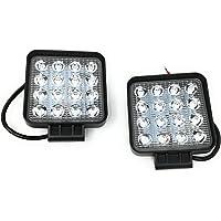 2 x Faro 48 W cuadrado foco LED de trabajo 16 LED de profundidad coche Barco