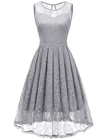 1dd1ae597a Gardenwed Women s Vintage Lace High-Low Evening Party Gown Sleeveless  Cocktail Bridesmaid DressGreyM  Amazon.co.uk  Clothing