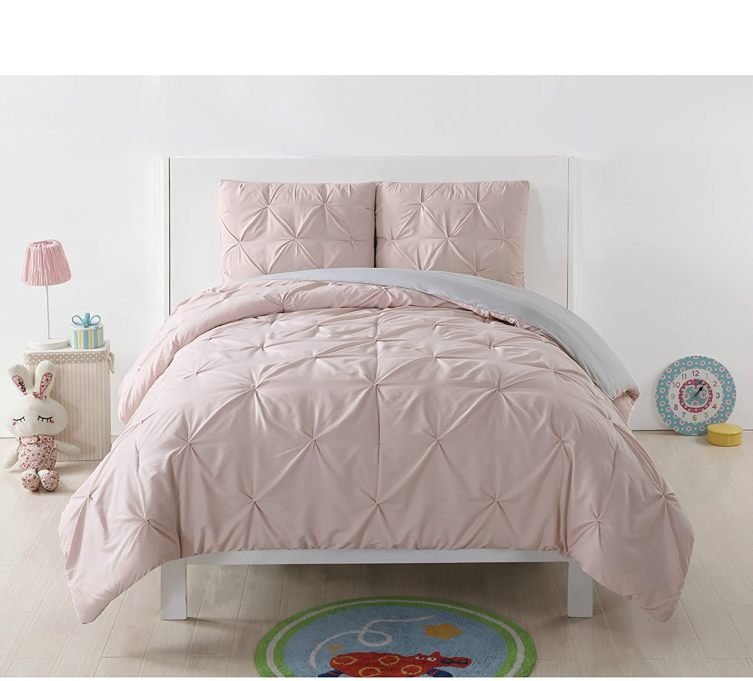 2 Piece Blush/Silver Grey Twin XL Comforter Set, Reversible Bedding, Kids Bedroom Decor, Solid Color Pattern, Super-Soft, Pinch Pleated, Classic Style, All-Season, Machine Wash, Pink/Cloud, Polyester