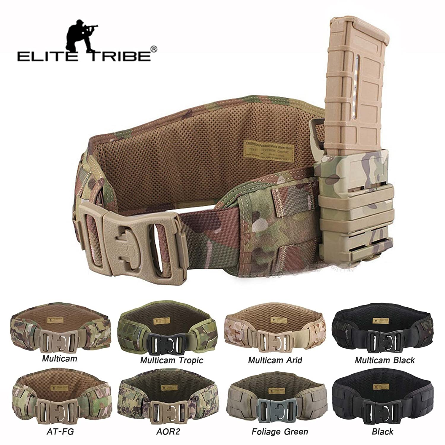 Airsoft Hunting Tactical Padded Belt Molle Combat Waist Belt (Black) Tactical Outdoor