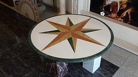 Tavoli Di Marmo Intarsiati : Tavolino tondo in marmo bianco intarsiato spedizione compresa