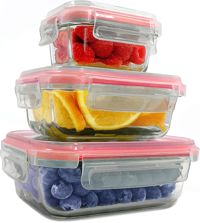 3 contenitori Ermetico Set 3, Blu Quadrato Home Fleek Senza BPA 3 coperchi Contenitori per Alimenti in Vetro