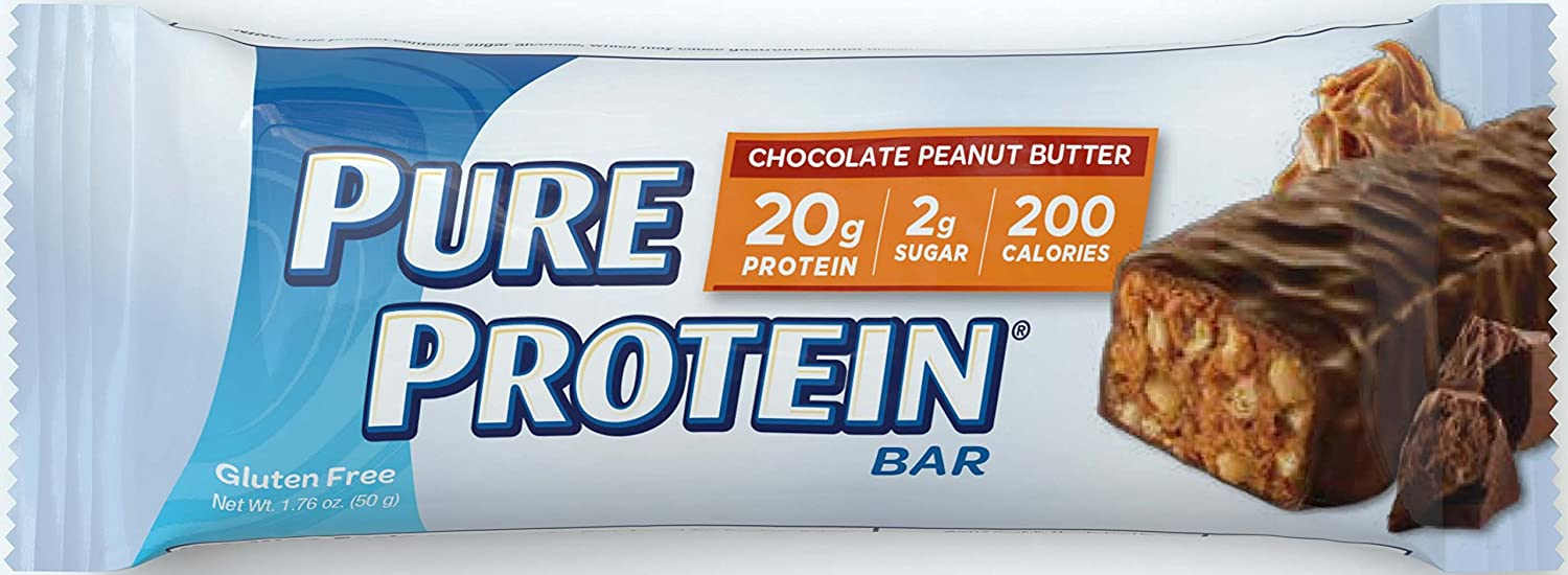 Pure Protein--High Protein Bar Chocolate Peanut Butter--Protein Bars--20 Grams of Protein per Bar--Gluten Free--6-1.76-Ounce Bars