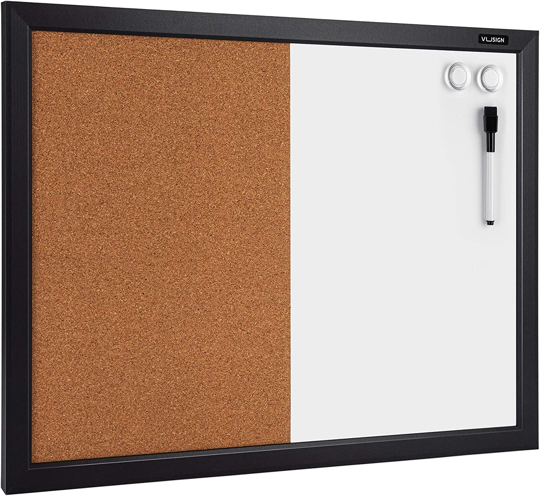 VUSIGN Combination Magnetic Whiteboard & Corkboard, 17